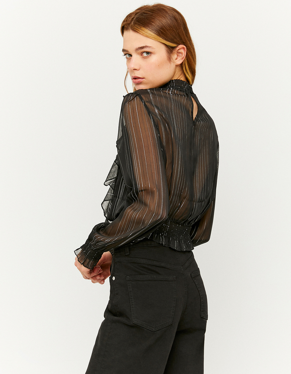Schwarze, gestreifte Bluse