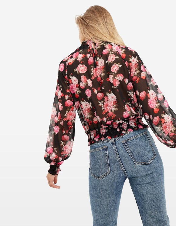 Floral Transparent Blouse