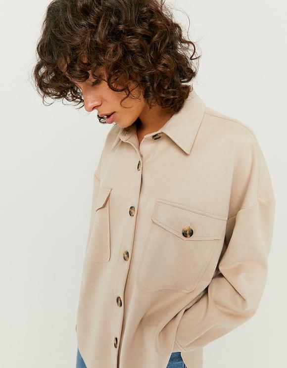 Beige Hemdjacke aus Wildlederoptik