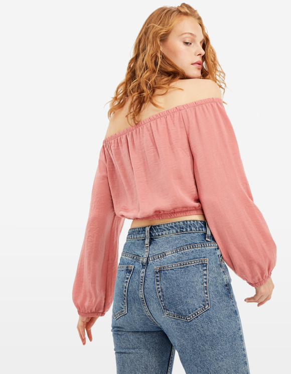 Pink Cropped Satin Blouse