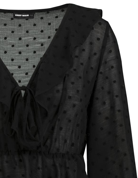 Schwarze, kurze Bluse in Satin