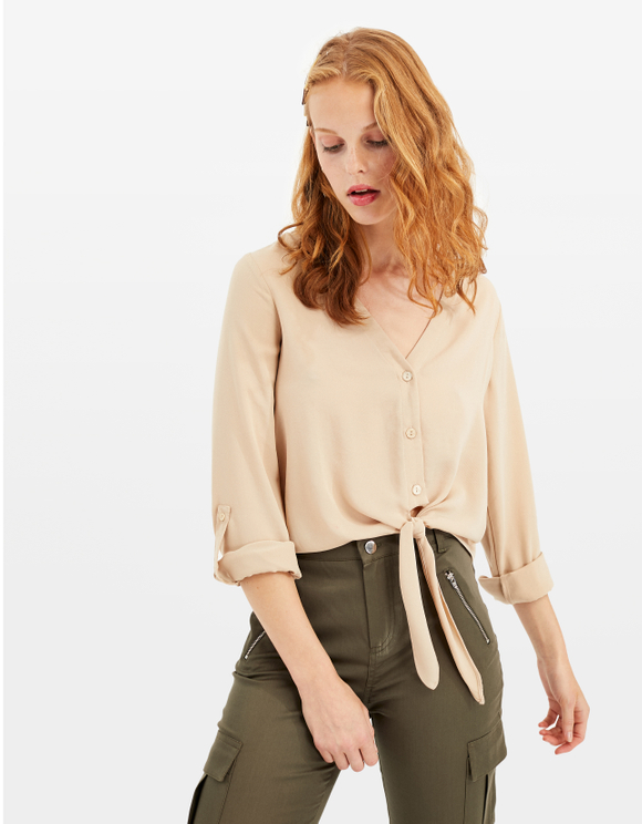 Beige Blouse with Knot