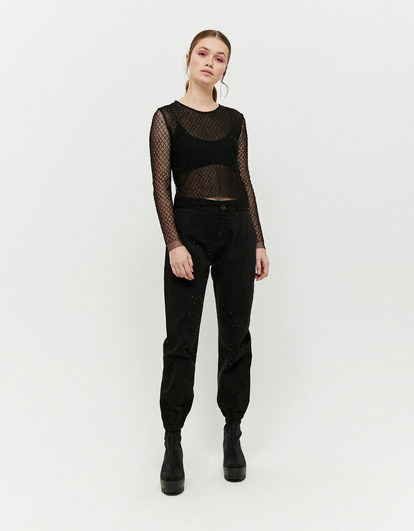 Black Transparent Top with Pearls