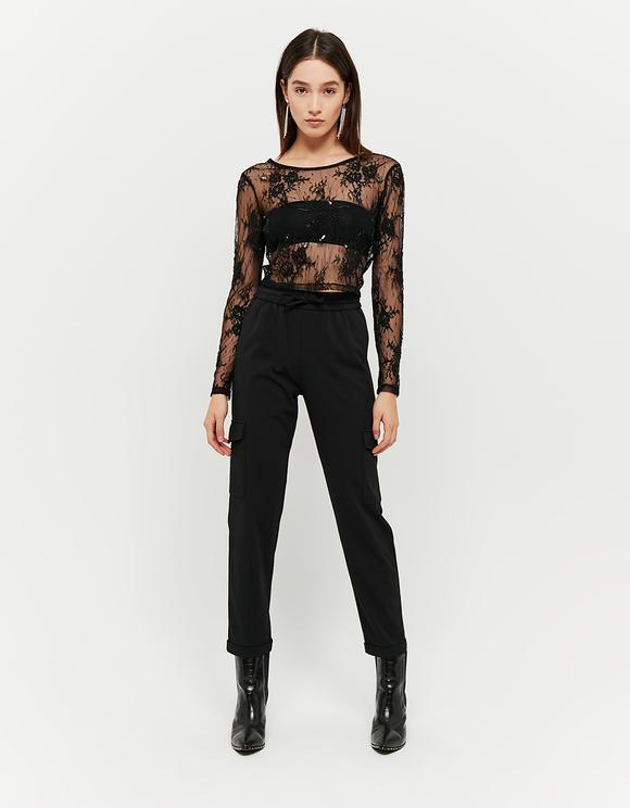Black Transparent Lace Top