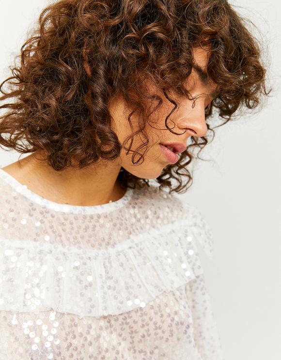 Blusa Bianca Trasparente con Paillettes