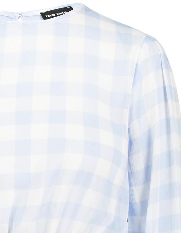 Transparente Bluse mit Aufdruck und gerafftete Taille