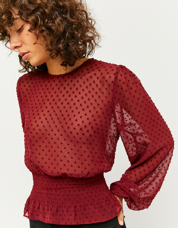 Burgundy Spotted Mesh Blouse