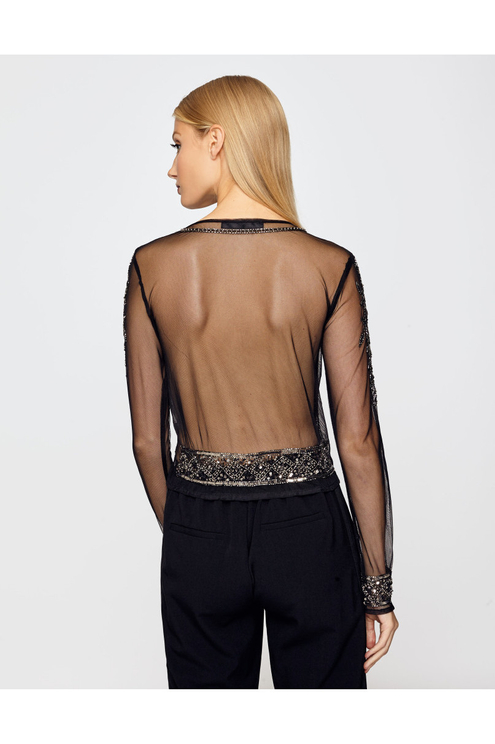 Black Transparent Sequin Top