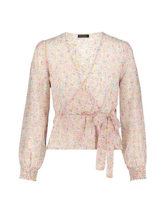 Bluse mit Aufdruck und Cache-Cœur-Ausschnitt