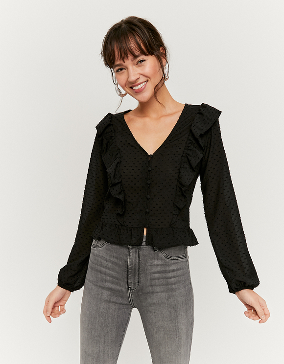 Black Dotted Mesh Boho Blouse