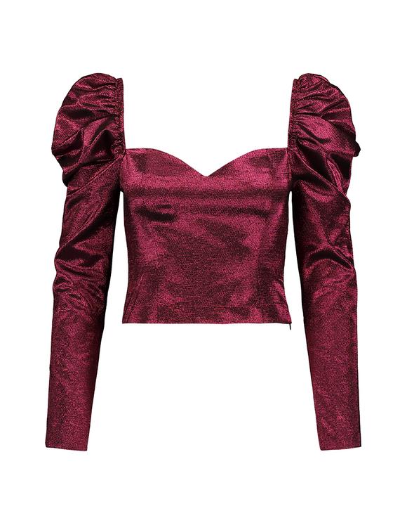 Pink Taffeta Metallic Blouse