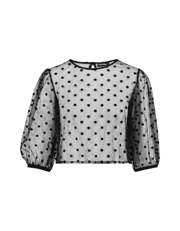 Schwarz-gepunktete transparente Bluse