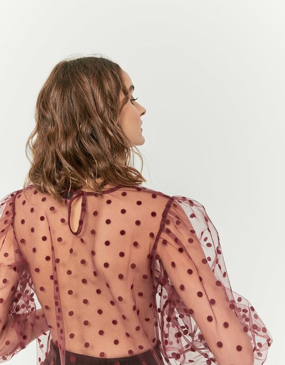 Burgundowa transparentna bluzka w kropki