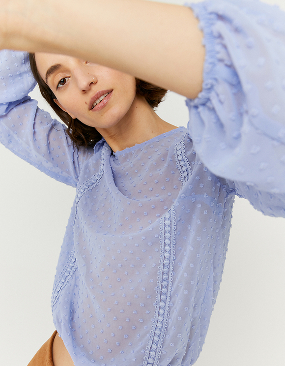 Blaue transparente Bluse