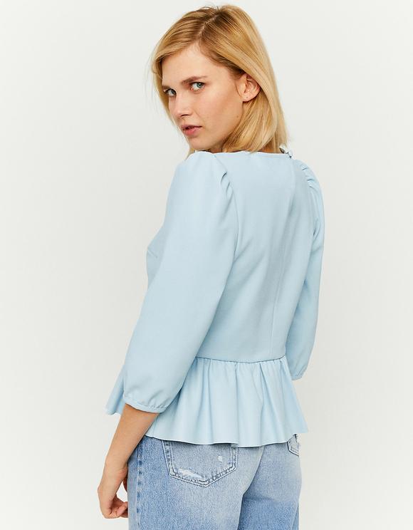 Blaue Bluse mit Rüschen