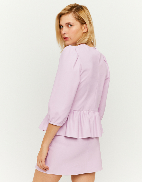 Violette Bluse mit Rüschen
