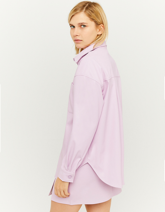 Pink Faux Leather Shirt