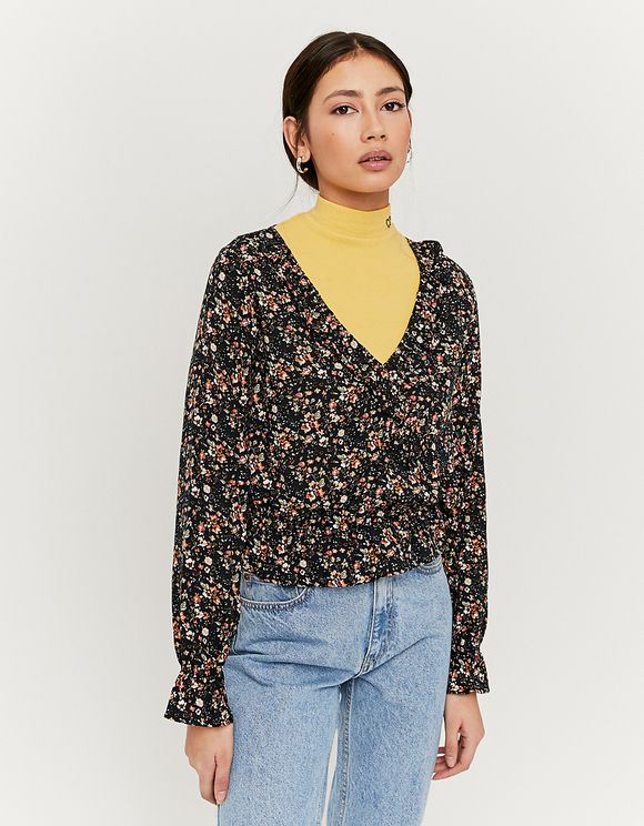 Bluse mit Blumen und Cache-Cœur-Ausschnitt