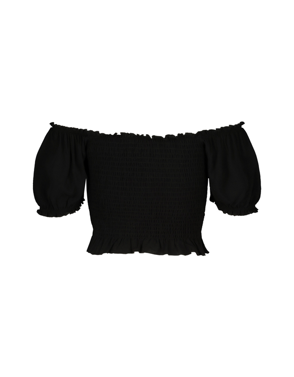 Black Smocked Blouse