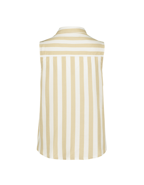 Beige Striped Sleeveless Shirt