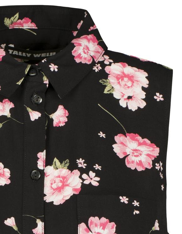 Black Floral Sleeveless Shirt