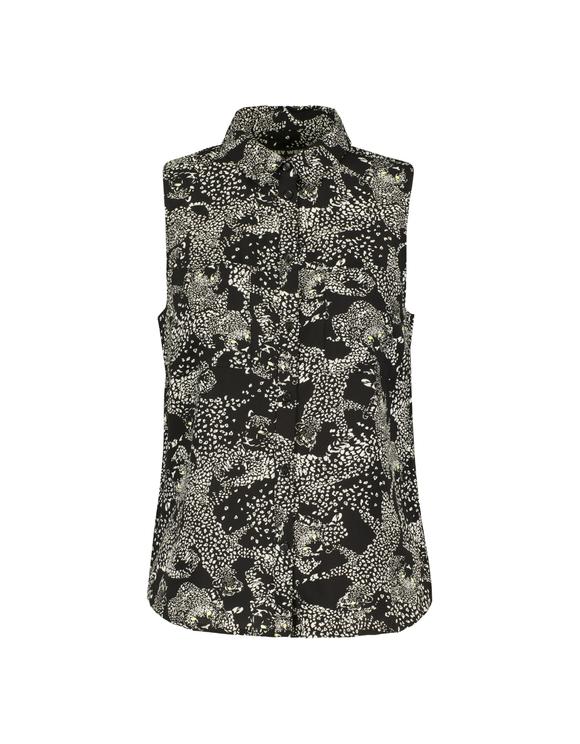 Black Printed Sleeveless Shirt