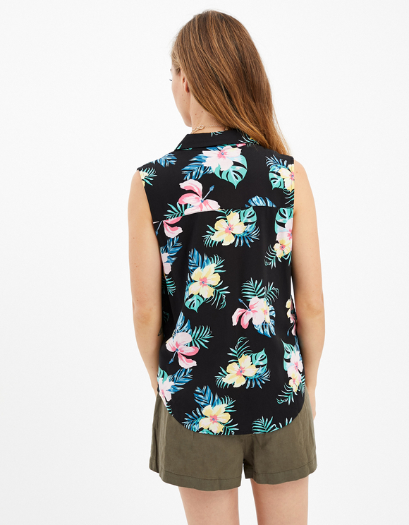 Black Floral Sleeveless Shirt