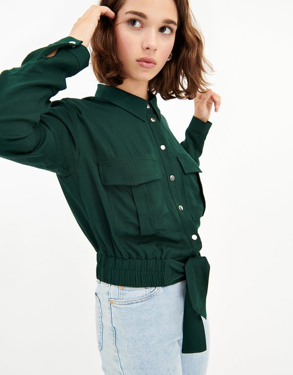 Green Utility Cropped Shirt