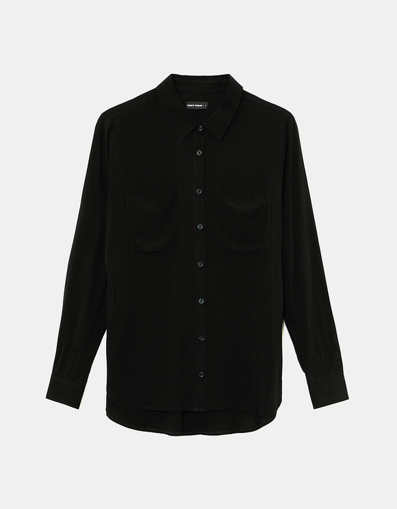 Schwarzes Basic Hemd mit Knöpfe