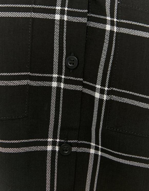 Chemise Boutonnée a Carreaux Noire