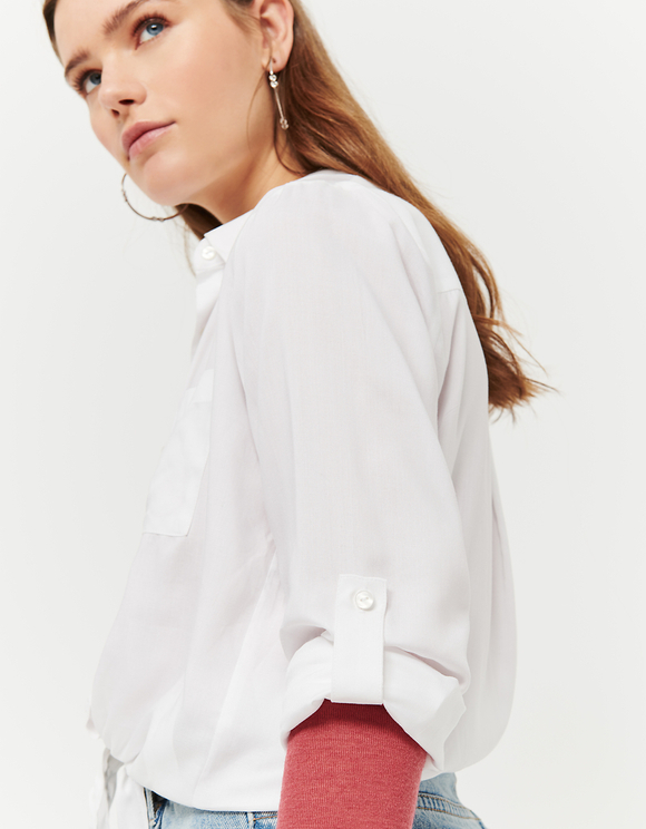 White Tie Front Crop Shirt