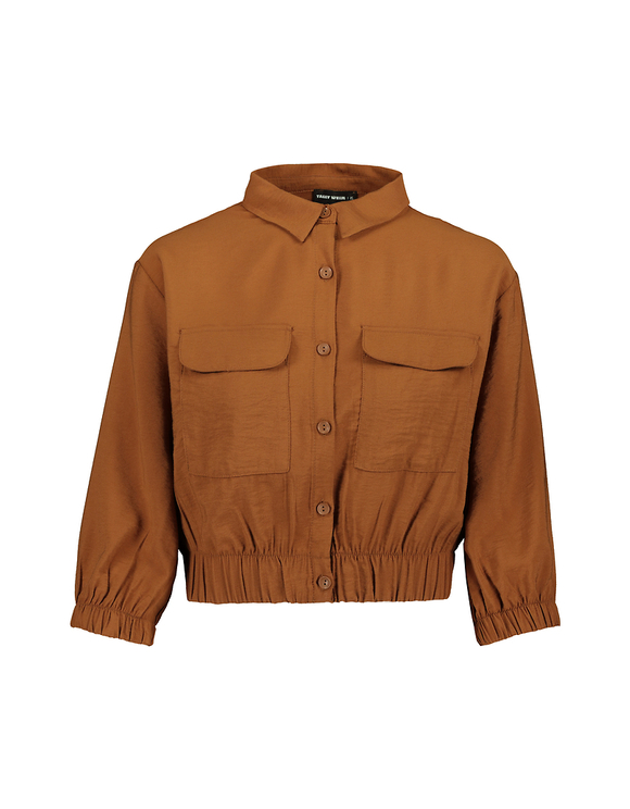 Kognacfarbenes, kurzes Hemd
