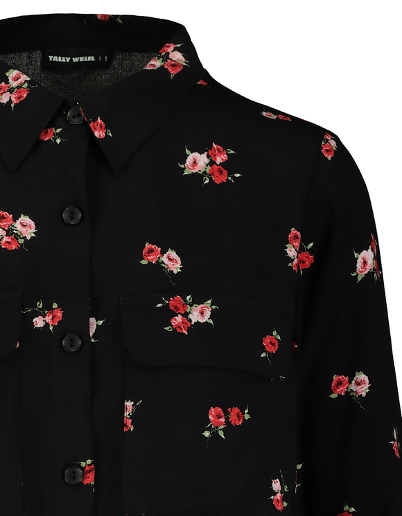 Black Floral Cropped Shirt