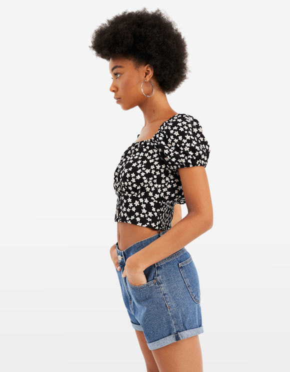 Black Printed Cropped Blouse