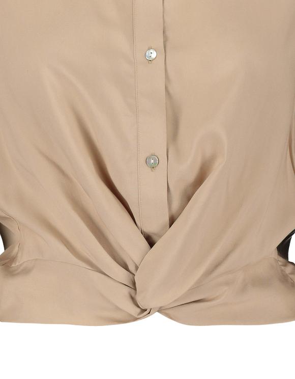 Beige Bluse mit Knoten