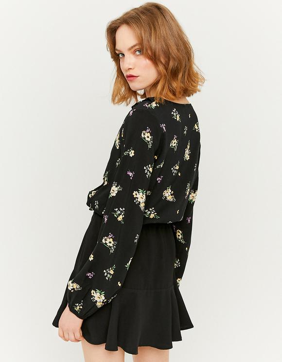Schwarze romantische Bluse mit Blumen und Rüschen