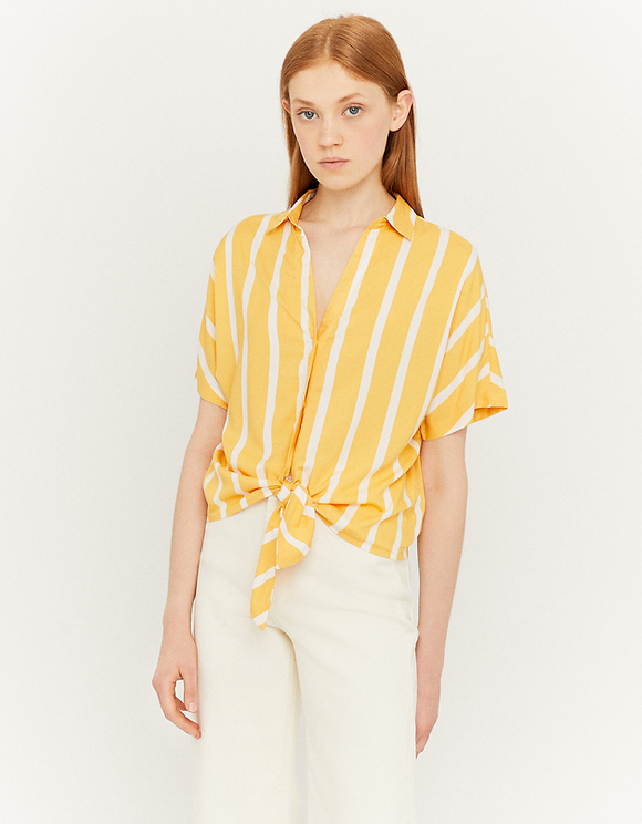 Yellow Striped Knotted Shirt