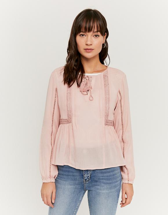 Pinke Bluse mit Rüschen