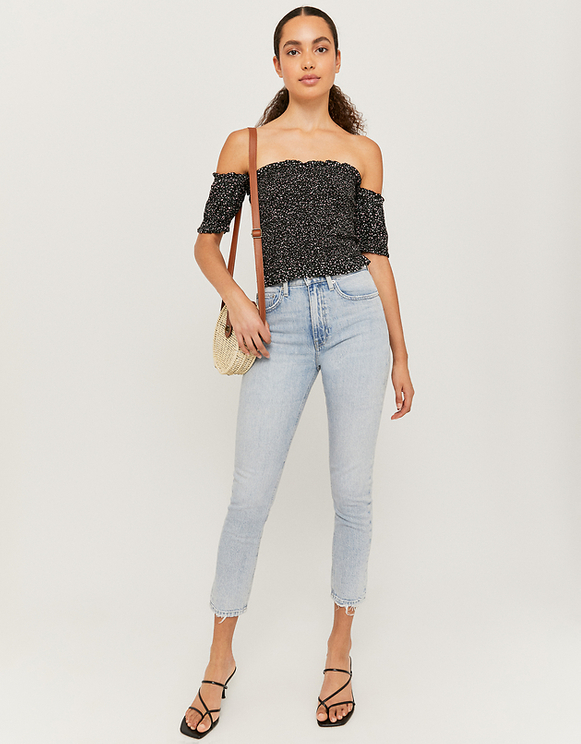 Off Shoulder Shirred Blouse