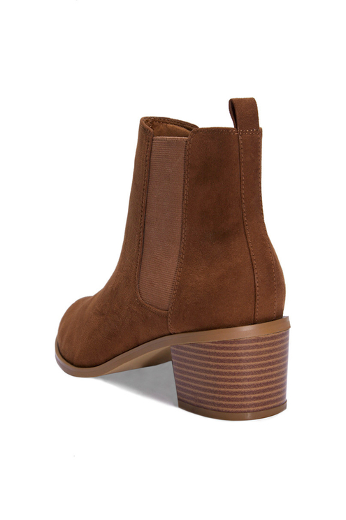Beige Suedette Ankle Boots
