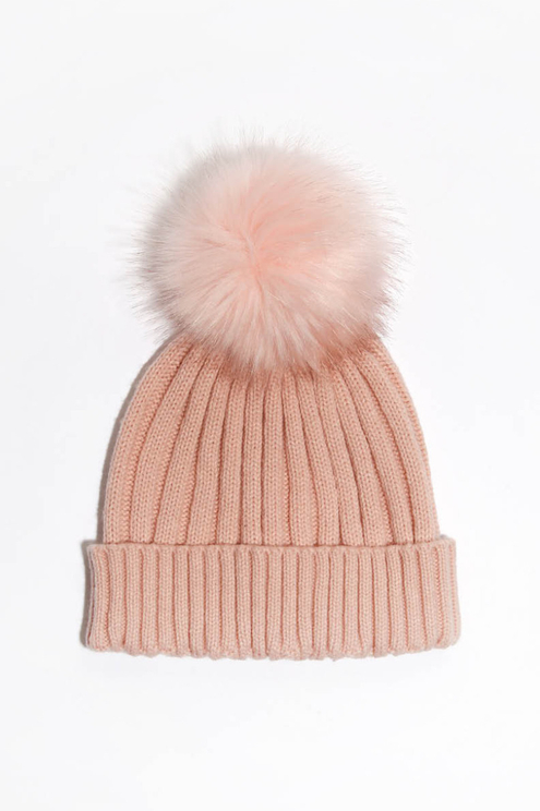 Pink Ribbed Hat