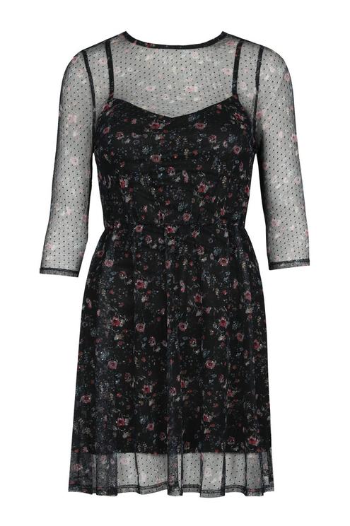 Schwarzes, gepunktetes Kleid mit Transparenz