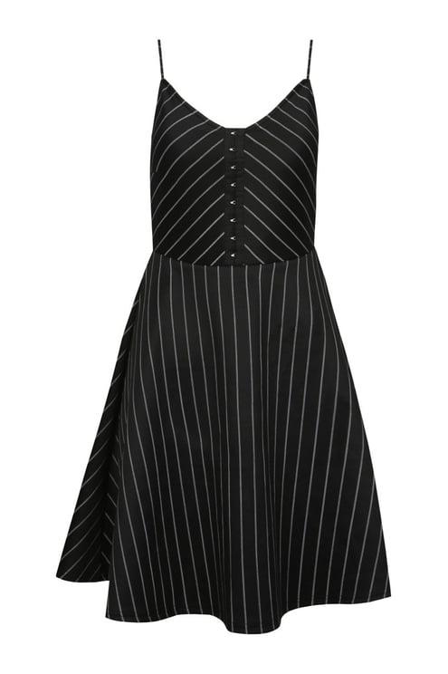 Black Pin Stripe Skater Dress