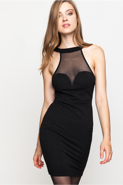 Black Bodycon Dress with Lurex