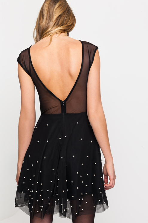 Pearl Embroidered Black Dress
