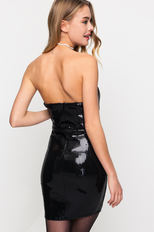 Sequin Dress with Plunging Neck