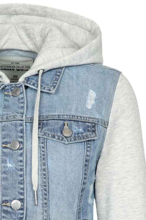 Denim Jacket with Sweater Hood