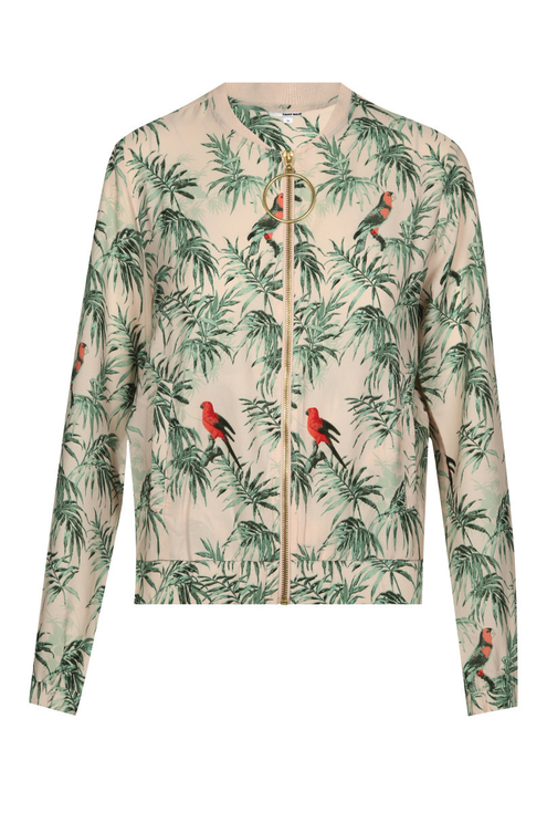 Pink Bird Print Bomber Jacket