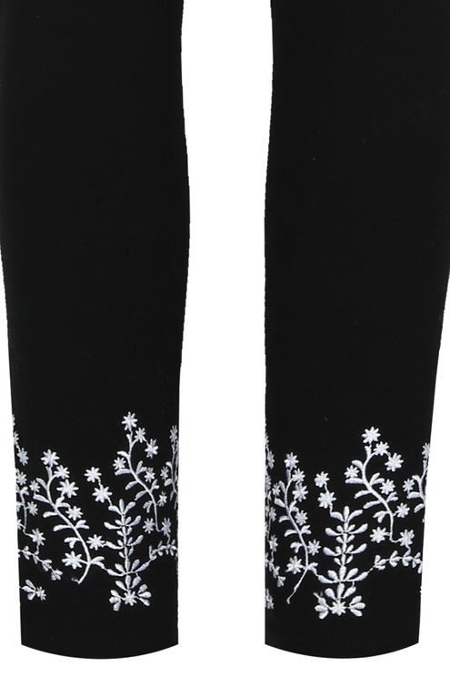Black Embroidered Leggings