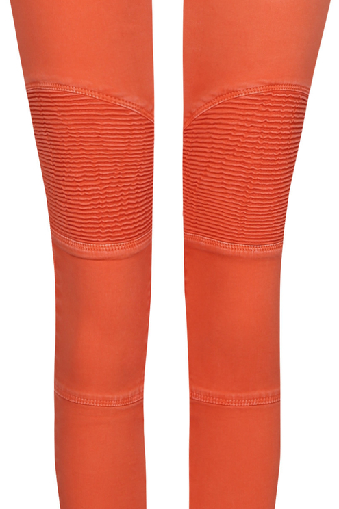 Orange Biker Skinny Trousers